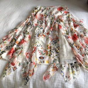 Alice + Olivia long flowered lace skirt